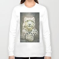 snow leopard Long Sleeve T-shirts featuring Snow Leopard by Pauline Fowler ( Polly470 )