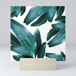 Banana leaf, Tropical palm leaf, banana palm, Flowing palms, blues, turquoise, Hawaii, beach decor Mini Art Print