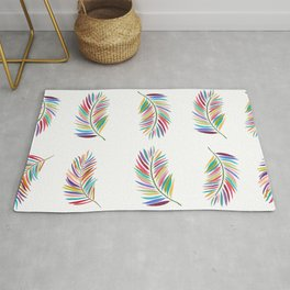 Tropical Brush Colorful Hand Drawn Palm Leaves Tropical Pattern Rug