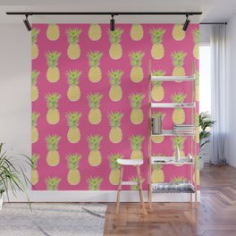 pineapple tropical vector pattern. textile print fashion illustration. Wall Mural