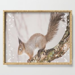 Little squirrel jumping on the branch #decor #society6 #buyart Serving Tray