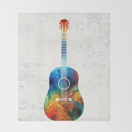 Colorful Guitar Art by Sharon Cummings Throw Blanket