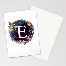 Personalized Monogram Initial Letter E Floral Wreath Artwork Stationery Cards