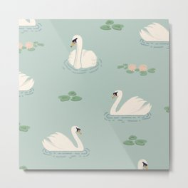 Swan romantic english pattern Metal Print