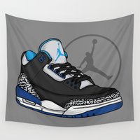sport Wall Tapestries featuring Jordan 3 (Sport Blue) by Pancho the Macho