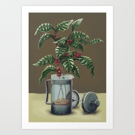 French Press Coffee Plant Art Print