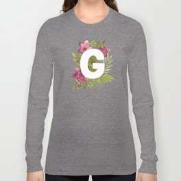 Monogram G with red waercolor flowers and green leaves. Floral letter G. Botanical illustration. Long Sleeve T-shirt