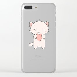 Kawaii Cute Cat With Hearts Clear iPhone Case