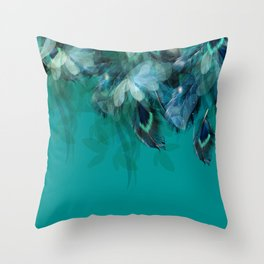 DREAMY FEATHERS & LEAVES - Deep Cyan Throw Pillow