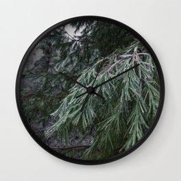 Frozen Evergreen Trees Wall Clock