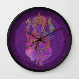 Ganesha hindu god watercolor gold purple art Wall Clock