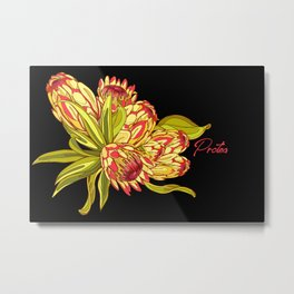 Protea Flower Pattern - Black Metal Print