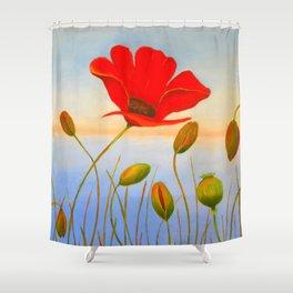 Red Poppy Sunset Shower Curtain