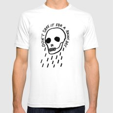 ink black and white skull illustration typography Mens Fitted Tee SMALL White