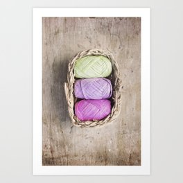 Pink lilac and green.... shouldn't be seen... unless it's in a little basket of Raffia Art Print