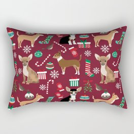 Chihuahua christmas presents dog breed stockings candy canes mittens Rectangular Pillow