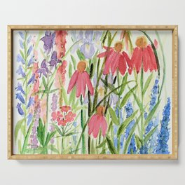 Garden Flowers Watercolor Serving Tray
