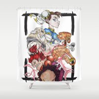 street fighter Shower Curtains featuring Street Fighter by Mazuki Arts