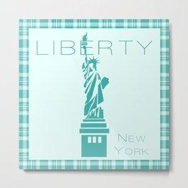 Liberty Green Print Plaid Metal Print