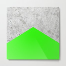 Geometric Concrete Arrow Design - Neon Green #394 Metal Print