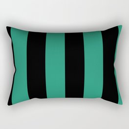 Elf Green and Black Stripes | Vertical Large Stripes | Rectangular Pillow