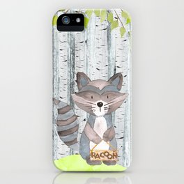 The adorable Racoon- Woodland Friends- Watercolor Illustration iPhone Case