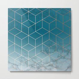 Gold Geometric Cubes Teal Marble Deco Design Metal Print