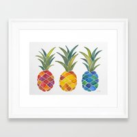 pineapples Framed Art Prints featuring Pineapples by Cat Coquillette
