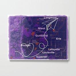 Paper plane travel to Boulder Colorado Metal Print