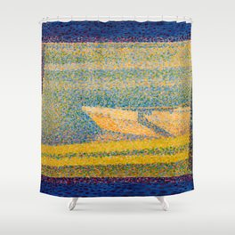 """Georges Seurat """"Moored Boats and Trees"""" Shower Curtain"""