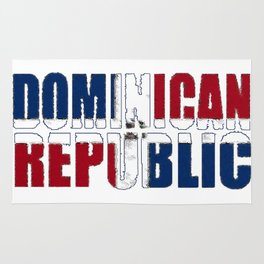 Dominican Republic Font with Dominican Flag Rug