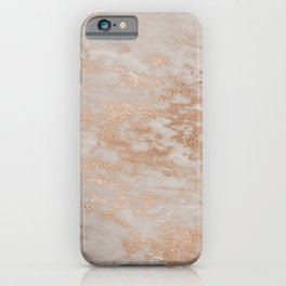 Rose Gold Copper Glitter Metal Foil Style Marble iPhone Case