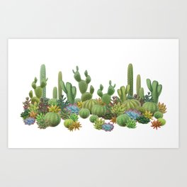 Milagritos Cacti on white background. Art Print