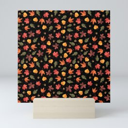 Autumn Leaves Pattern Black Background Mini Art Print