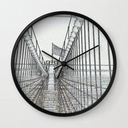 Brooklyn Bridge Cables Abstract Wall Clock