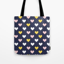 Cute Hearts on Blue Background Tote Bag