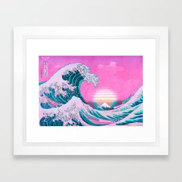 Vaporwave Aesthetic Great Wave Off Kanagawa Sunset Framed Art Print
