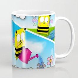 Bee and the flowers Cartoon Strip Artwork Coffee Mug