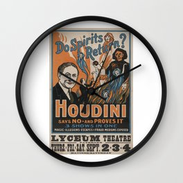 Houdini - vintage poster, spirits Wall Clock
