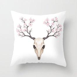 Blooming deer skull Throw Pillow