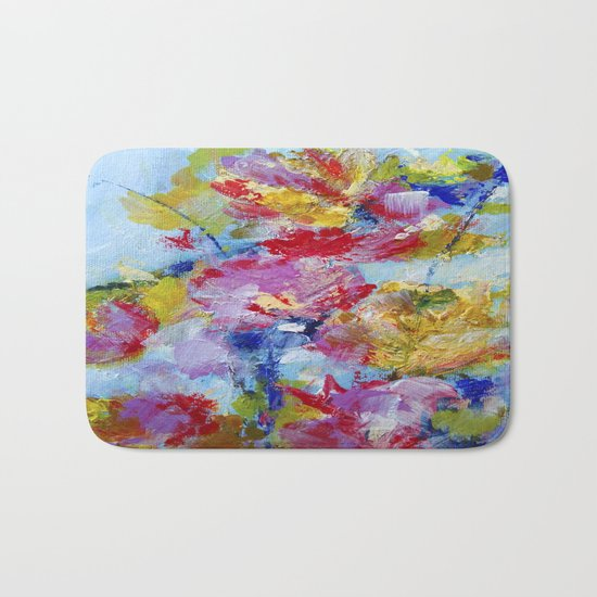 Abstract floral painting 5 Bath Mat