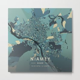 Niamey, Niger - Cream Blue Metal Print