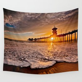 Surf City Sunsets -  Sunset At The Huntington Beach Pier 3/4/16 Wall Tapestry