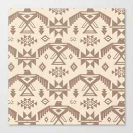 Southwestern Thunderbird Kilim in Ecru + Taupe Canvas Print