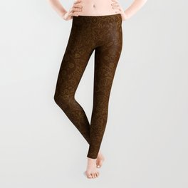 Clockwork Retro / Cogs and clockwork parts lineart pattern in brown and gold Leggings