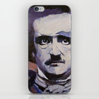 edgar allan poe iPhone & iPod Skins featuring Edgar Allan Poe by Michael Creese