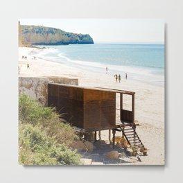 Cabane de plage, sea, Portugal, Europe Metal Print