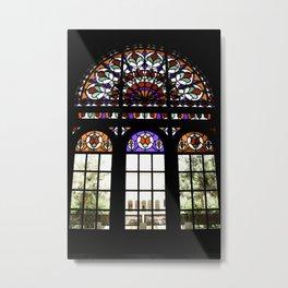 Colorful Rainbow Stain Glass Persian Window Art Metal Print