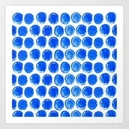 Blue acrylic circles pattern Art Print
