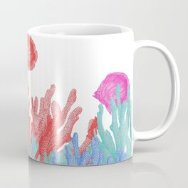 Modern nautical coral teal floral reef colorful fish Coffee Mug